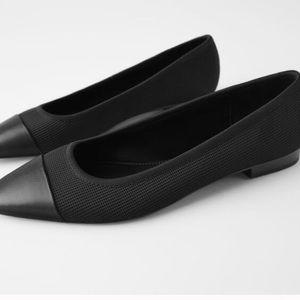 ZARA  Mesh Ballet Pointed Toe Flats In Black